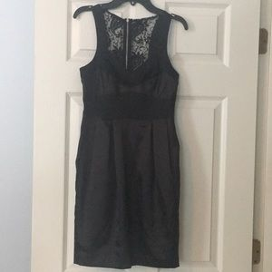 Black cocktail dress with lace sheer back